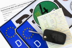 Fahrzeugpapiere und Plakette mit Europa-Kennzeichen