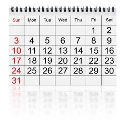 Der Kalender zeigt die Feiertage an